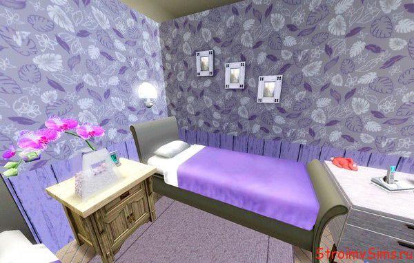 Лиловая комната для близнецов симок