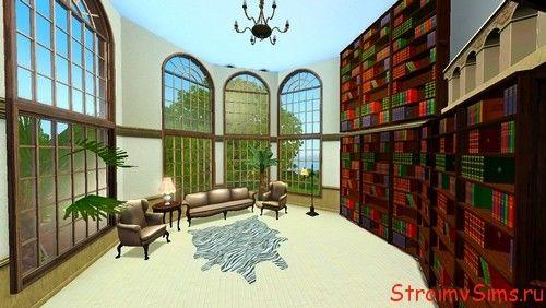Высокие окна гостинной для Sims 3