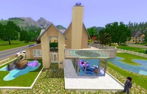Домик для Симс 3 с самодельным бассейном