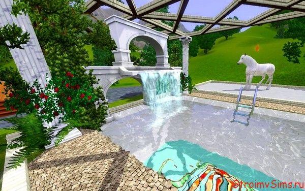 Оформление бассейна в Симс 3 водопадом и цветущими кустами