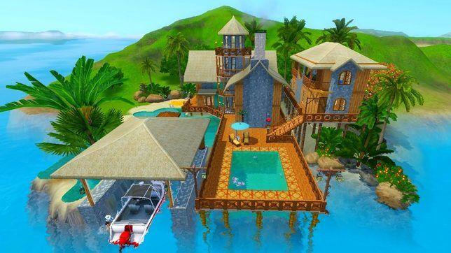 Строительство дома в Симс 3 с причалом для катера и гостевым домиком
