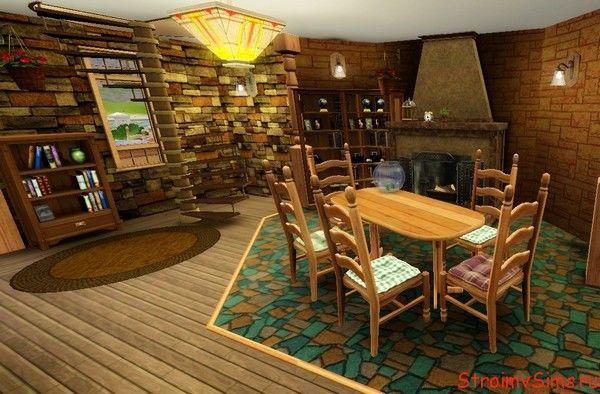 Дизайн жёлто-коричневой гостиной в кантри стиле