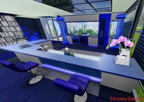 Сине-серая кухня с голографическим декором