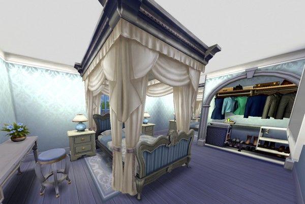 Дизайн спальни с балдахином в Симс 4.