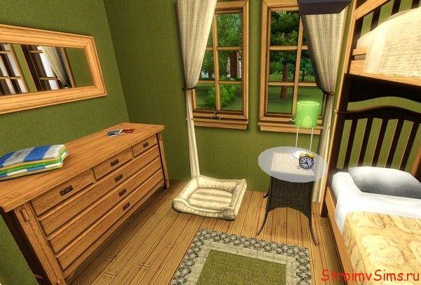 Обустройство спальни в доме на дереве