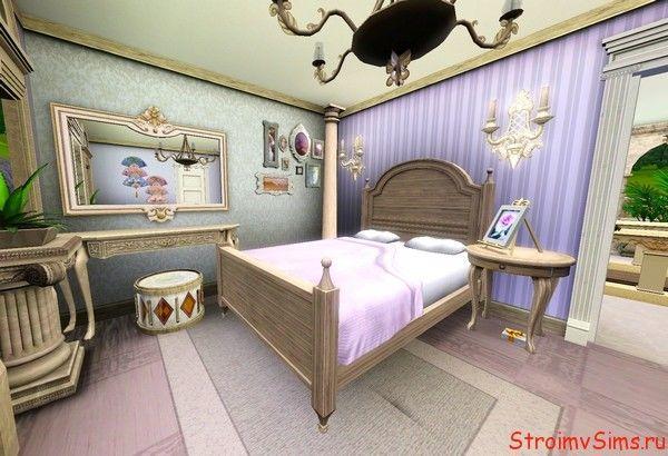 Оформление сиреневой спальни в доме для Симс 3