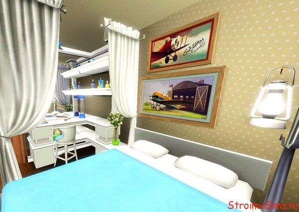 Дизайн скромной спальни в Симс 3.