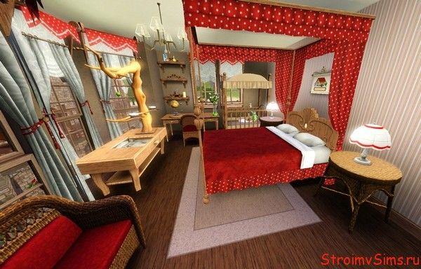 Гостевая спальня с двуспальной кроватью.