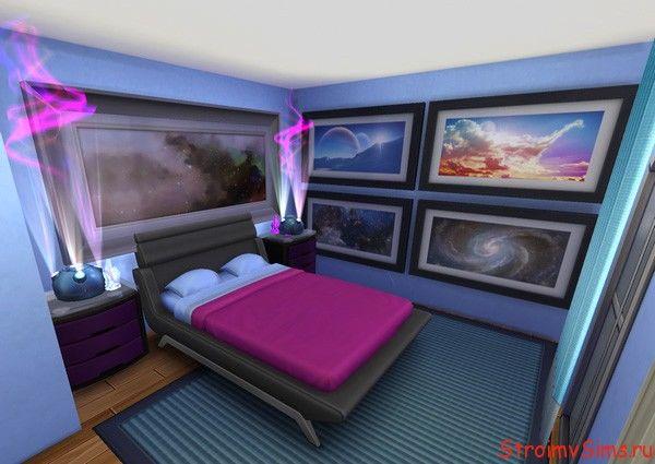 Космический дизайн спальни симов родителей