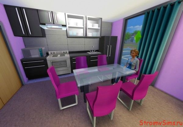 Дизайн современной кухни в The Sims 4.
