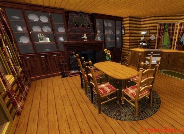 Гостиная деревянного домика для Симс 3