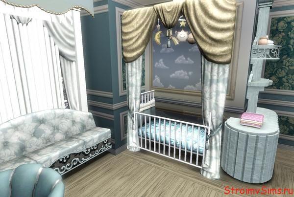 Уголок малыша в спальне родителей симов