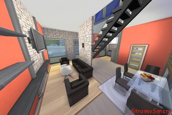 Современный дизайн в The Sims 4 доме Violet