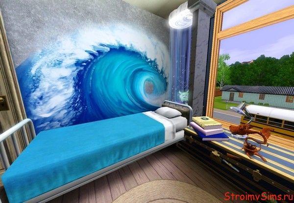 Спальня с самодельным аквариумом.