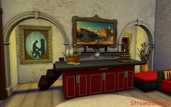 Дизайн камина и лестницы в The Sims 4