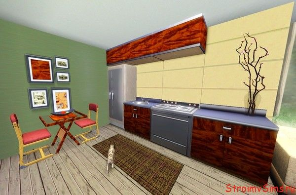Кухня и столовая стартового домика для The Sims 3