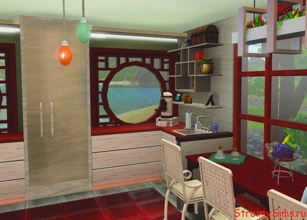 Дизайн кухни для Симс 3 в китайском стиле