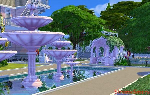Дорожка с увеличенными частями фонтанов