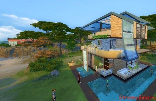Фасад дома модерн для симов