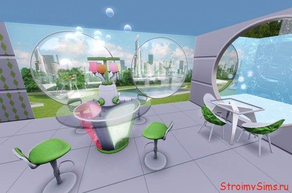 Кафе с окном в бассейн