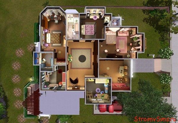 Симс 3 планировка дома Холливелл: 2 этаж