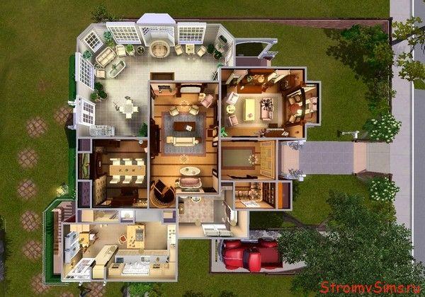 Схема размещения комнат первого этажа Дом The Sims 3