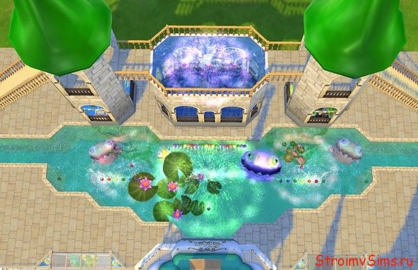 Фигурный бассейн с разноцветными фонтанами