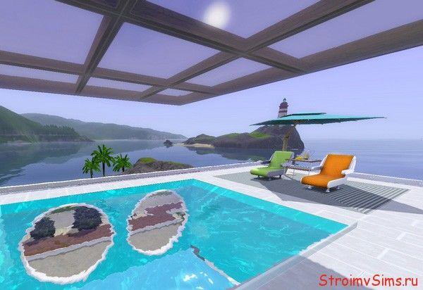 Стеклянный потолок из прозрачных ковров Симс 3