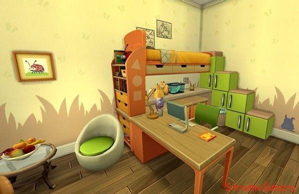 Мебель с кодом Симс 4: двухъярусная кровать и рабочий стол в одном