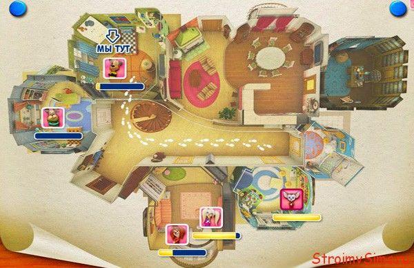 План схема комнат 1 этажа квартиры Барбоскиных