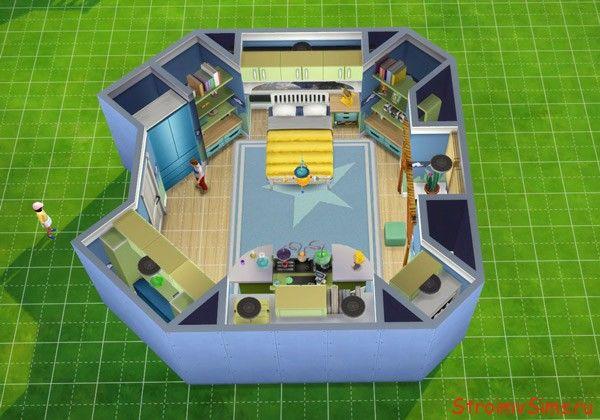Схема комнаты мальчика с мебелью в Симс 4