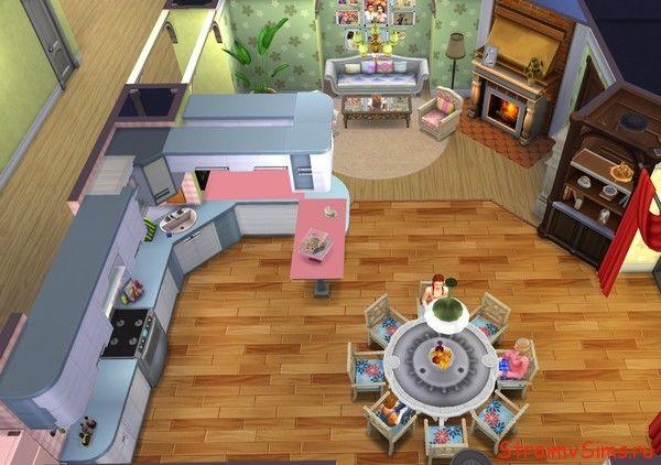 Вид сверху на кухню Барбоскиных в Симс 4