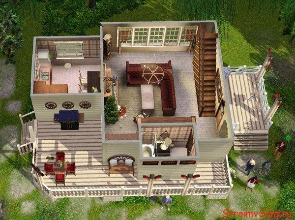 Как перестроился первый этаж стартового дома в Симс 3