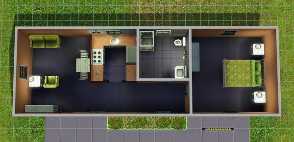 Расположение комнат в Симс 3 в доме «Префабулос»