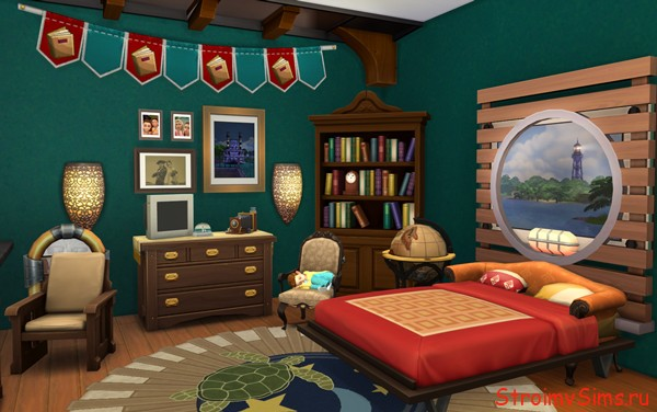 Симс 4: комната дедушки Барбоскина с встроенной мебелью