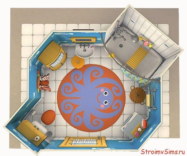 Размещение предметов и планировка в ванной Барбоскиных