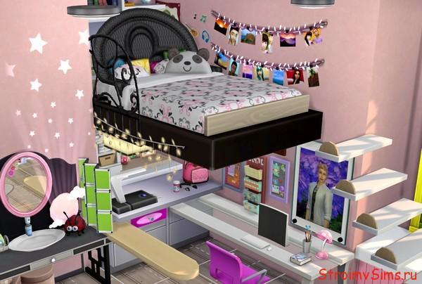 Кровать и стол Маринетт в Симс 4, без допконтента