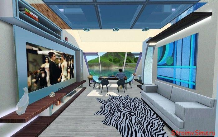 Строим в Симс 3 хаусбот с полукруглыми потолками