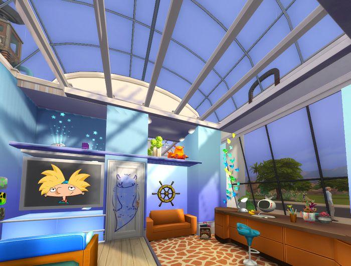 Стеклянные крыши в комнате Арнольда для  The Sims 4